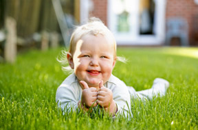 Happy child in the grass